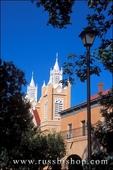 Morning light on San Felipe de Neri Church and lamp post (National Historic Landmark), Old Town, Albuquerque, New Mexico