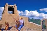 "Mural titled ""Santeria de Nuevo Mexico"" by George Chacon near Taos Plaza, Taos, New Mexico"
