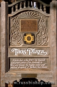 Taos Plaza sign and national register of historic places plaque, Taos, New Mexico