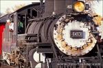 Steam train at the Cumbres and Toltec Scenic Railroad depot, Chama, New Mexico