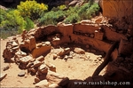 Pottery sherds, corn cobs and grinding impressions in a kiva at Junction Ruin, Grand Gulch Primitive Area, Cedar Mesa, Utah