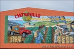 "Mural of the artichoke harvest in the ""artichoke center of the world"", Castroville, California"