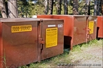 Sign warning of bear habitat on food locker, Tuolumne Meadows, Yosemite National Park, California