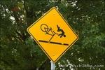 Street sign warning cyclists of railroad crossing, Vancouver, Washington