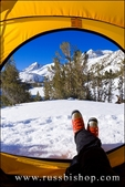 View from a yellow dome tent in winter, Little Lakes Valley, Inyo National Forest, Sierra Nevada Mountains, California
