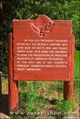Interpertive sign at the meadow where John Muir and Teddy Roosevelt discussed conservation, Yosemite National Park, California