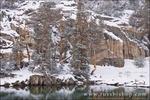 Fresh snow along the shore of Gem Lake, John Muir Wilderness, Sierra Nevada Mountains, California