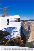 Backcountry skier at Taft Point, Yosemite National Park, California