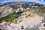 Climber on the Northwest Buttress of Tenaya Peak, Tuolumne Meadows area, Yosemite National Park, California