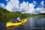 Woman kayaking on the Hanalei River, Island of Kauai, Hawaii