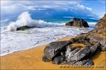 Crashing waves and rocks at Hanakapi'ai Beach, Na Pali Coast, Island of Kauai, Hawaii