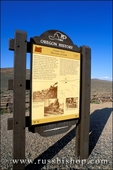 Oregon Trail interpretive sign on Highway 86 along the Oregon Trail at Flagstaff Hill, Baker City, Oregon