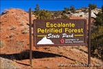 The entrance sign at Escalante Petrified Forest State Park, Utah
