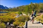 Backpackers in Little Lakes Valley, John Muir Wilderness, Sierra Nevada Mountains, California