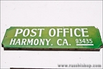 Sign at the Harmony Post Office, Harmony, California