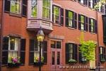 Brick houses and gas street lamp on Beacon Hill, Boston, Massachusetts