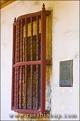 Window and plaque, Santa Barbara Mission (Queen of the missions), Santa Barbara, California