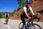 Cyclists on the San Juan Skyway (Highway 145), San Juan National Forest, Colorado