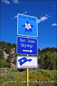 Scenic byway sign on the San Juan Skyway (Highway 145), Uncompahgre National Forest, Colorado