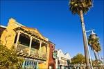 Shops and restaurants on the promenade, Avila Beach, California USA