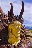Metal indian head sculpture by Ricardo Breceda at Galleta Meadows Estate, Borrego Springs, California USA