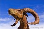 Metal bighorn sheep sculptures by Ricardo Breceda at Galleta Meadows Estate, Borrego Springs, California USA