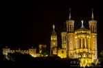 Fourvi�re Basilica at night, Lyon, France (UNESCO World Heritage Site)
