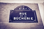 Street sign on Rue de la Bûcherie, Left Bank, Paris, France