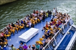 Tour boat on the Seine River, Left Bank, Paris, France