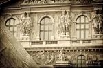 Louvre Palace and Pyramid detail, Louvre Museum, Paris, France