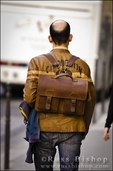 Man with a leather backpack, Paris, France