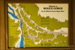 Interpretive sign at the Rogue River Gorge, Rogue River National Forest, Oregon
