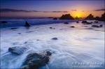 Sea stacks at sunset, El Matador State Beach, Malibu, California USA
