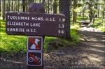 Trail sign, Tuolumne Meadows, Yosemite National Park, California USA