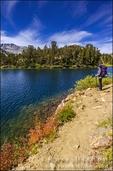 Backpacker on the Bishop Pass Trail at Long Lake, John Muir Wilderness, Sierra Nevada Mountains, California USA