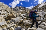 Backpacker on the Bishop Pass Trail, John Muir Wilderness, Sierra Nevada Mountains, California USA