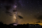 The Milky Way and lightning storm above Dusy Basin, Kings Canyon National Park, California USA