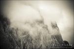 Clouds and rock ridges of the Palisades, Kings Canyon National Park, California USA