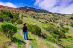 Hiker in Scorpion Canyon, Santa Cruz Island, Channel Islands National Park, California USA