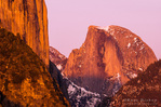 Evening light on Half Dome and El Capitan, Yosemite Valley, Yosemite National Park, California USA