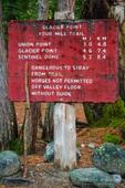 Glacier Point trail sign, Yosemite Valley, Yosemite National Park, California USA