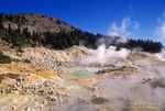 Morning light on steam rising from the Bumpass Hell geothermal area, Cascade Mountains  (Pacific Ring of Fire), Lassen Volcanic National Park, California USA