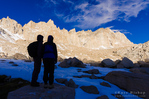 Hikers on the Mount Whitney trail, John Muir Wilderness, Sierra Nevada Mountains, California USA