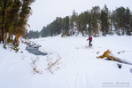 Backcountry skier crossing a creek, John Muir Wilderness, Sierra Nevada Mountains, California  USA