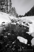 Rock Creek in winter, John Muir Wilderness, Sierra Nevada Mountains, California  USA