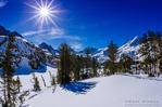 Long Lake and Sierra Peaks in winter, John Muir Wilderness, Sierra Nevada Mountains, California  USA