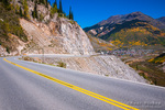 Steep grade on the Million Dollar Highway near Silverton, San Juan National Forest, Colorado USA