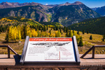 Interpretive sign at Molas Pass along the San Juan Skyway, San Juan National Forest, Colorado USA