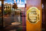 Brass plaque on the General Palmer Hotel, Durango, Colorado USA
