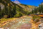 The Durango & Silverton Narrow Gauge Railroad on the Anamas River, San Juan National Forest, Colorado USA